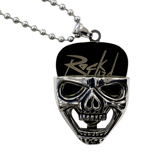 Skull Head Guitar Pick Holder with Stealth Pick